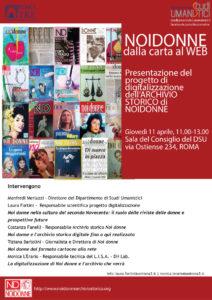 Noi Donne - presentazione della digitalizzazione della rivista @ Dipartimento Studi Umanistici di Roma Tre